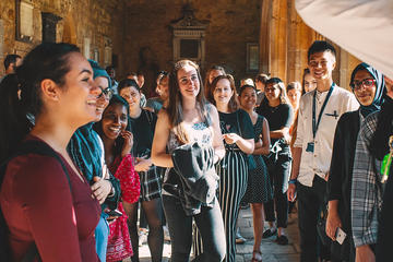 UNIQ+ Students attending a tour of New College, Oxford, before their first UNIQ+ Dinner.